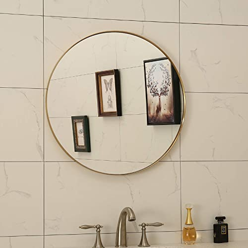 Contemporary Brushed Gold Bathroom, Brushed Stainless Bathroom Mirror