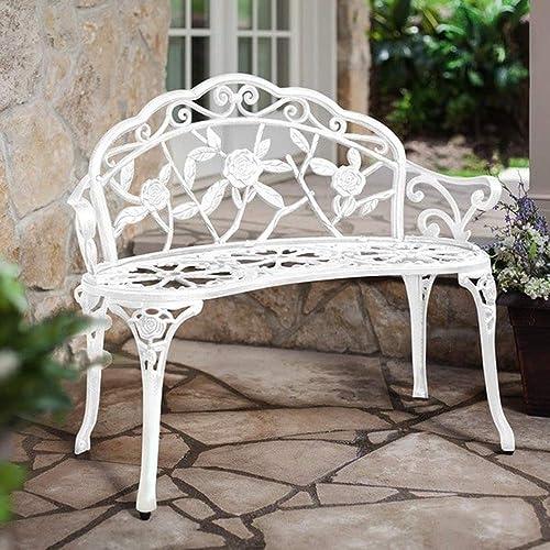 Homefun Patio Outdoor Bench White, White Cast Aluminium Garden Bench