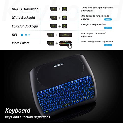 Buy ANEWISH 2 4Ghz Mini Wireless Keyboard & Touchpad Mouse, 7 Color