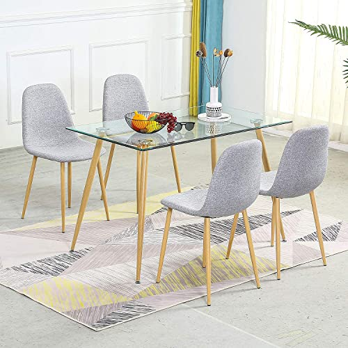 Dining Table And 4 Fabric Modern Chairs, Glass Top Dining Room Table