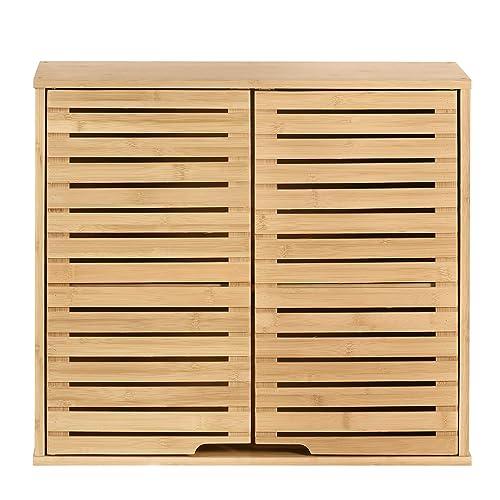 Hynawin Bamboo 2 Tier Bathroom Wall, Bamboo Bathroom Wall Cabinet