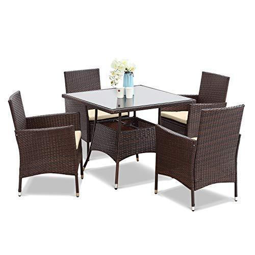 5 Piece Wicker Patio Dining Table, 5 Piece Wicker Patio Dining Set With Umbrella Hole