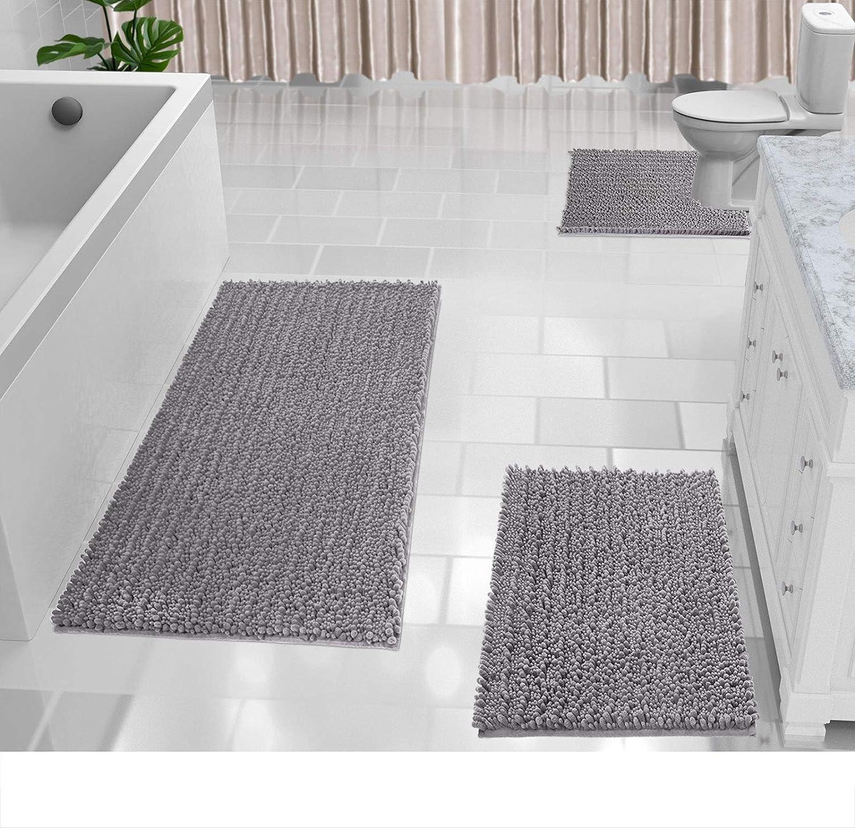 3 Piece Ultra Soft Gy Rugs, Bathroom Floor Rugs